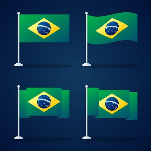 Brasilien Flagge Vektor Element Set