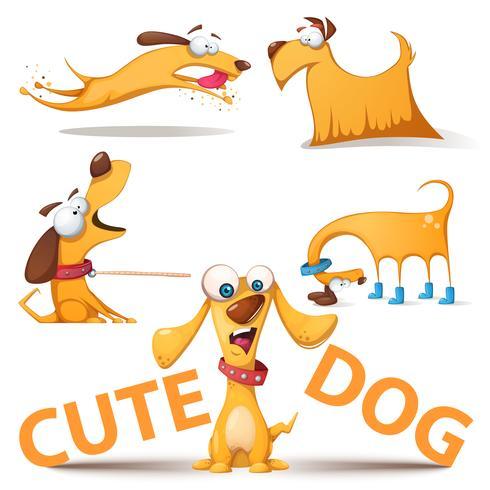 Söt hunduppsättning. Rolig illustration. vektor