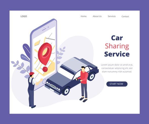 Isometric Artwork Koncept av Car Sharing Service vektor