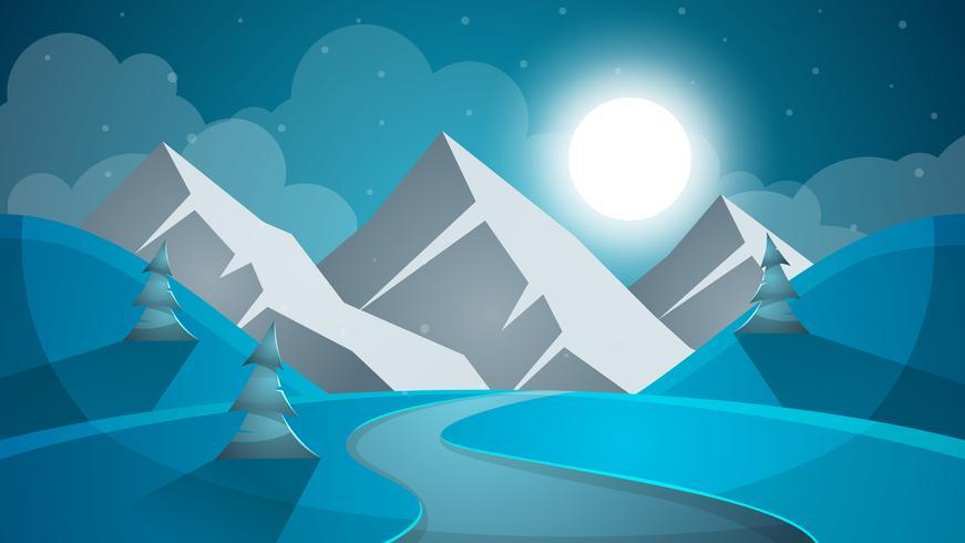 Tecknad snölandskap. Sol, snö, gran, mountine illustration. V vektor