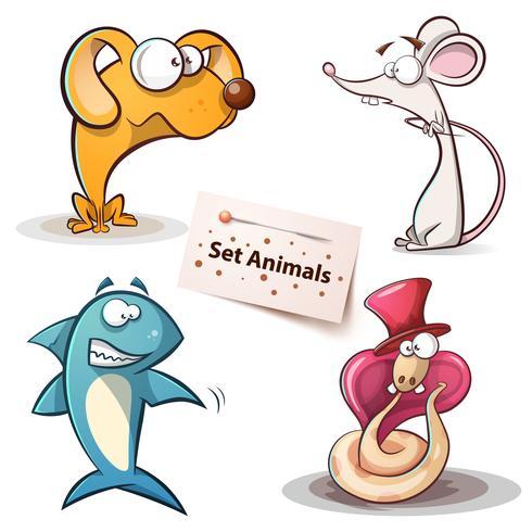 Hund, mus, haj, orm - uppsatta djur vektor