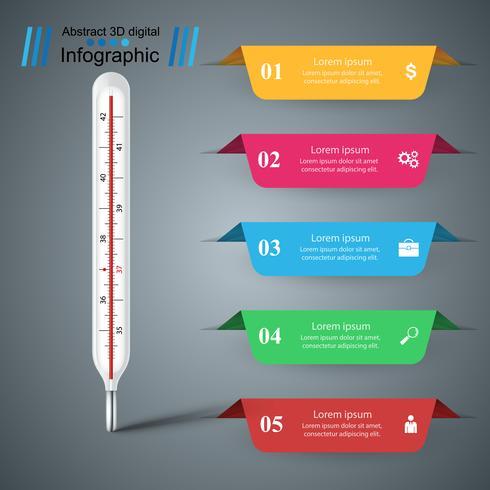 Termometerns affärsinfographics. Hälsa ikon. vektor