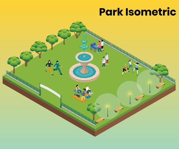 Isometrisches Grafikkonzept des Parks für Unterhaltung vektor