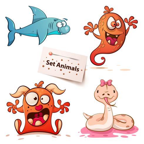 Shark, monster, snake-set djur. vektor