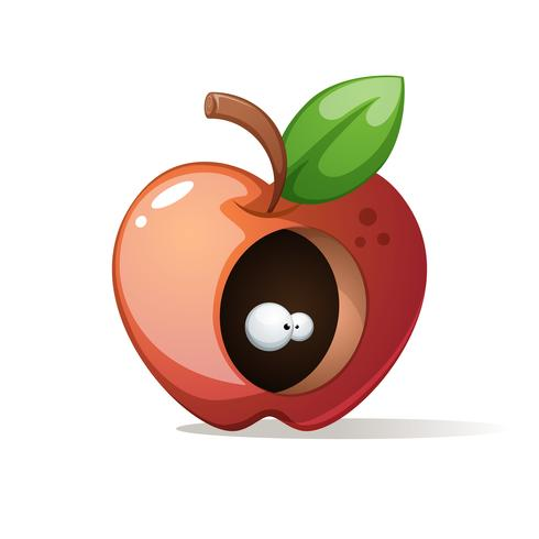 Roter großer Apfel mit Blatt. vektor