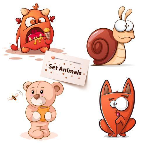 Monster, Schnecke, Bär, Katze - Comicfiguren. vektor
