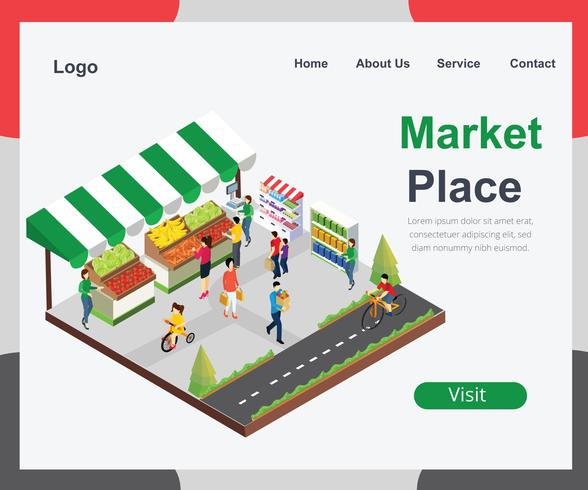 Lokal marknadsplats av grönsak isometrisk konstverk begrepp vektor