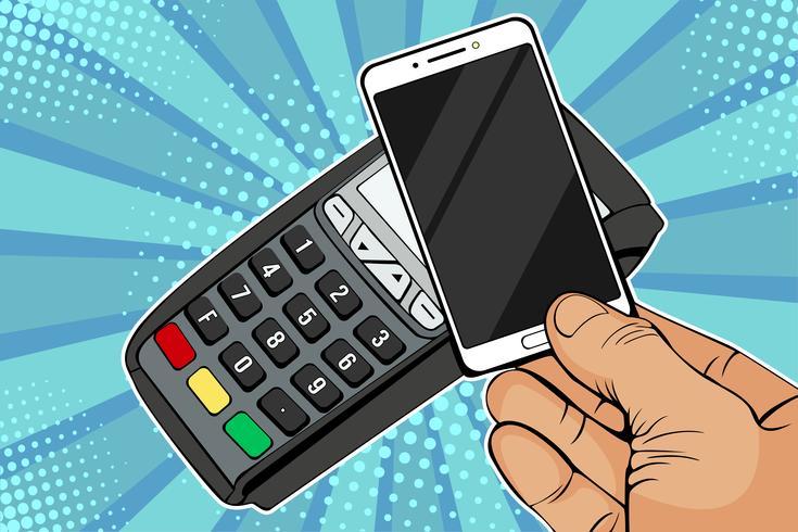 POS-Terminal, Bezahlmaschine mit Handy. Kontaktloses Bezahlen mit NFC-Technologie. Bunte Vektorillustration in der Retro- komischen Art der Pop-Art vektor