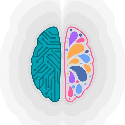 Flache menschliche Gehirnhälften vektor