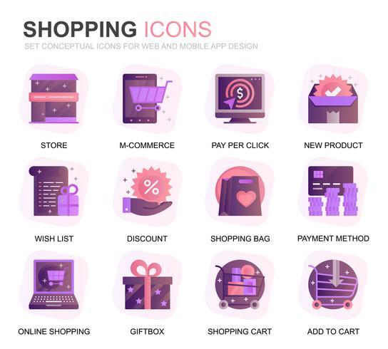 Modern Set Shopping och E-Commerce Gradient Flat Ikoner för webbplats och mobilappar. Innehåller sådana ikoner som leverans, betalningsmetod, butik, handel. Konceptuell färg plattikon. Vektor piktogram pack.