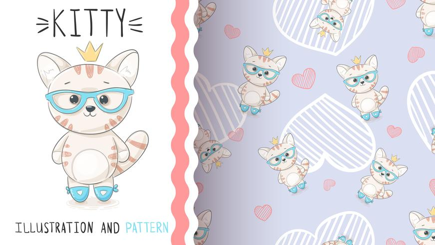 Söt prinsessakattunge - sömlöst mönster vektor