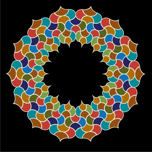Marokkanischer verzierter Fliesenkreisrahmen vektor