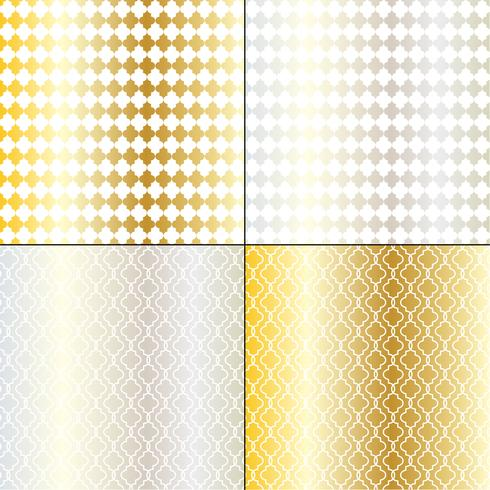 marokkanische geometrische Muster aus Silber und Gold vektor
