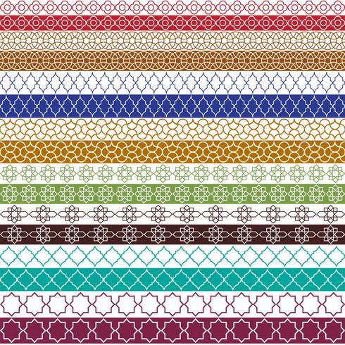 färgglada marockanska gränsmönster vektor