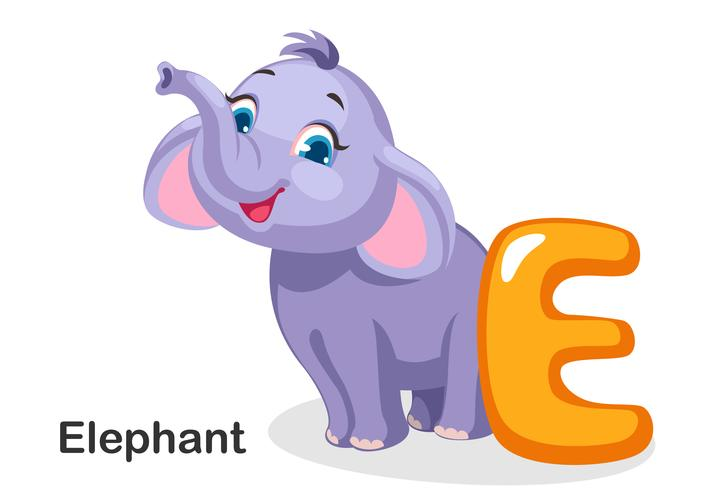 E für Elefanten vektor