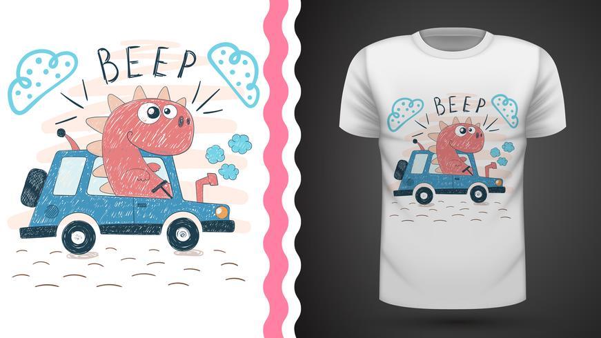 Dino med traktor - idé för tryckt t-shirt vektor