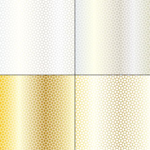 silver och guld marockanska böljande geometriska mönster vektor