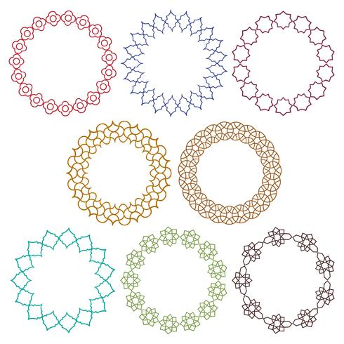 bunte marokkanische Kreisrahmen vektor