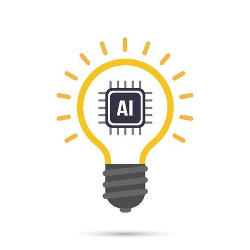 AI Artificiell intelligens Teknologi lampa ikon vektor