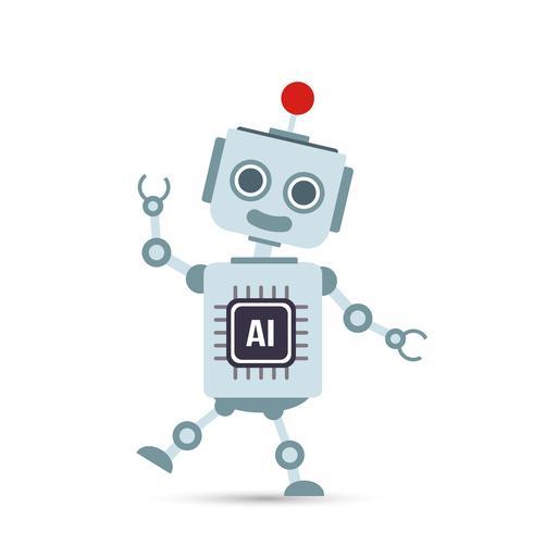 AI Artificiell intelligens Teknologi robottecknad 001 vektor