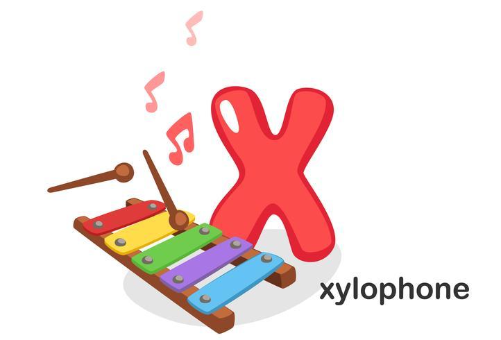 X für Xylophon vektor