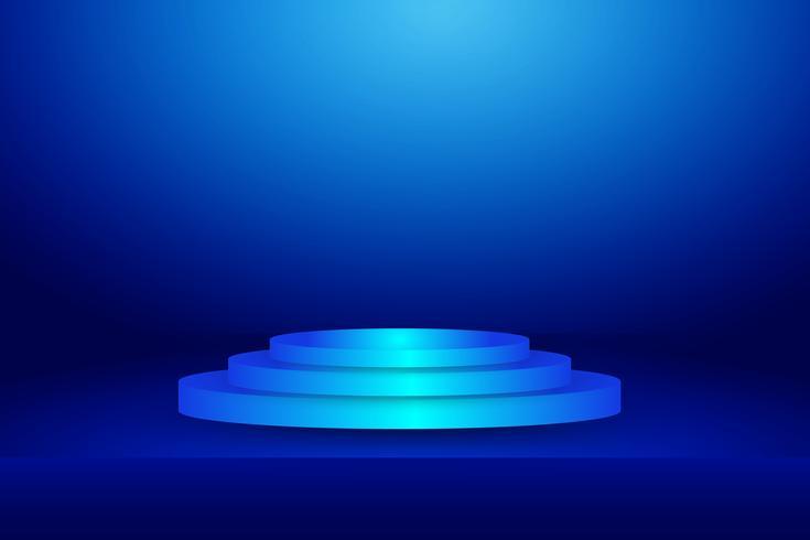 blå scen på horisontell studio gradient vägg rum, Modern inredning bakgrund vektor
