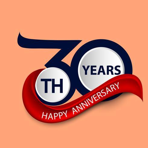 30. Jahrestagszeichen- und -logofeiersymbol mit rotem Band vektor