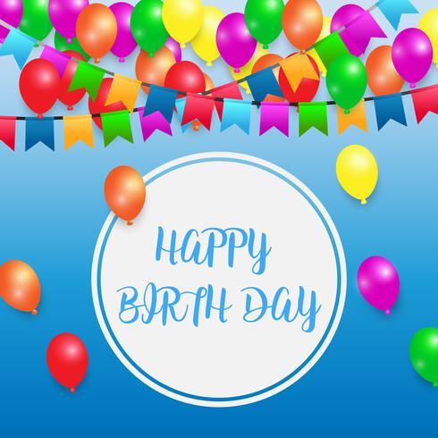 ballong och blå födelsedagsfest bakgrund vektor