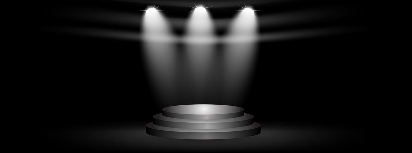Scen och presentation av produkt med sportljus på svart studio bakgrund vektor