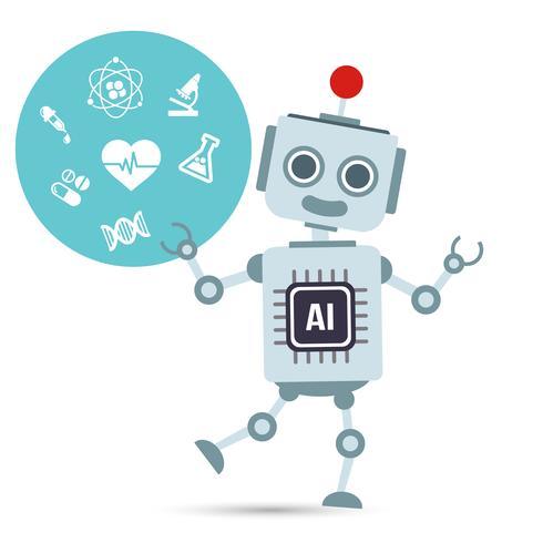 AI Artificiell intelligens Teknikrobot med medicinsk vektor