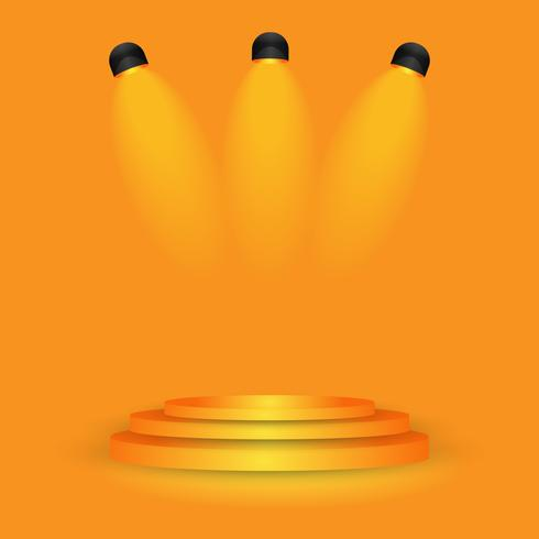 orange scen på studio gradient vägg rum, modern inredning bakgrund vektor