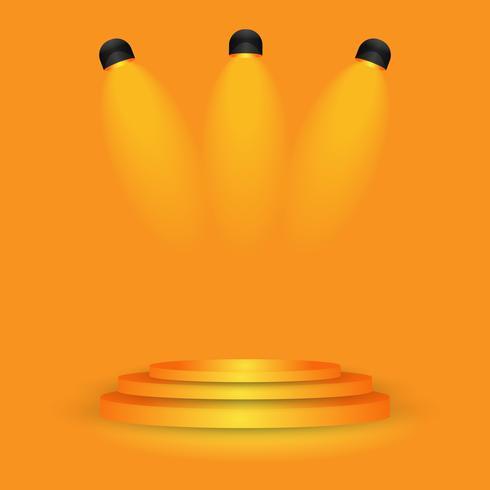 orange Stadium auf Studio-Steigungswandraum, moderner Innenhintergrund vektor