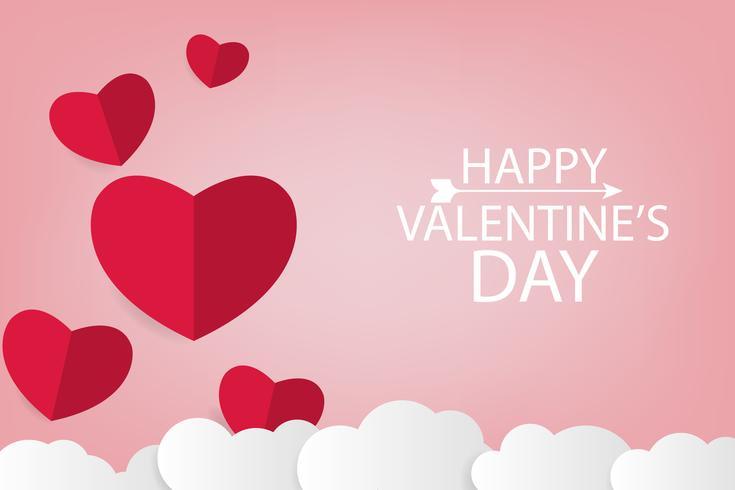 valentinpapper konst bakgrund med rött hjärta och vitt moln vektor