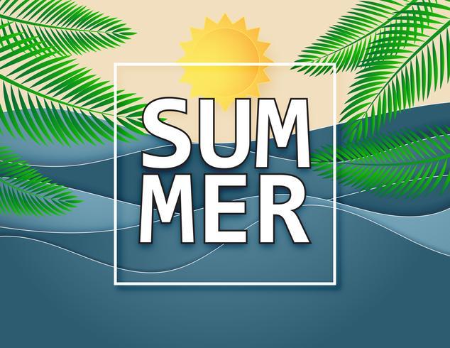 Illustration des Sommerhintergrundes mit Sonnen-, See- und Palmen. vektor