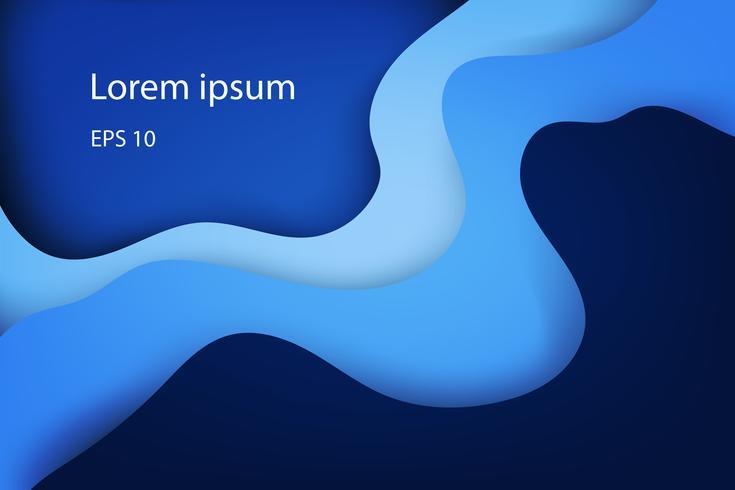 Moderna abstrakta täcker, färgstarka våg och flytande former blå bakgrund vektor