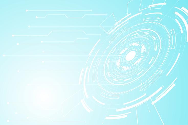 abstrakter Technologiekonzept Kreis Kreis digitaler Link auf Hi-Tech Zukunft weiß blauen Hintergrund vektor