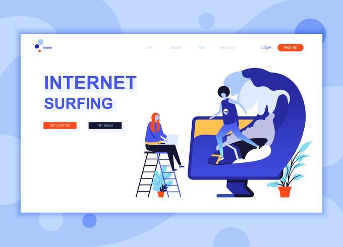Modern platt webbdesign mall koncept Internet Surfing dekorerade människor karaktär för webbplats och mobil webbutveckling. Platt målsida mall. Vektor illustration.