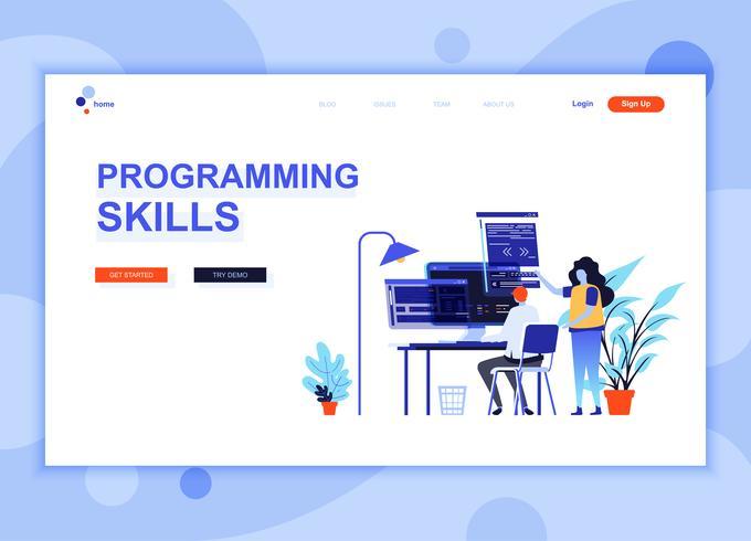 Modern platt webbdesign mall koncept för programmering färdigheter dekorerad människor karaktär för webbplats och mobil webbutveckling. Platt målsida mall. Vektor illustration.