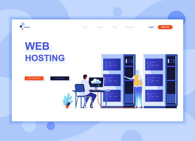 Modern platt webbdesign mall koncept för webbhotell dekorerade människor karaktär för webbplats och mobil webbutveckling. Platt målsida mall. Vektor illustration.