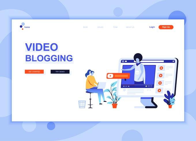 Modern platt webbdesign mall koncept för Video Blogging dekorerade människor karaktär för webbplats och mobil webbutveckling. Platt målsida mall. Vektor illustration.