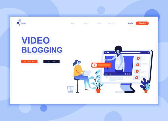 Modernes flaches Webseitendesignschablonenkonzept des Video-Bloggens verzierte Leutecharakter für Website- und mobile Websiteentwicklung. Flache Landing-Page-Vorlage. Vektor-illustration vektor