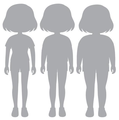 En uppsättning silhuettflicka kroppstransformation vektor