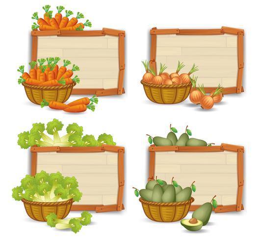 Satz organisches Gemüse auf hölzernem Brett vektor