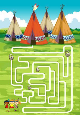 Spielvorlage mit Tipi und Indianer vektor