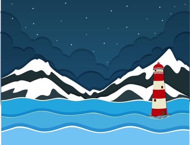 En snö berg över havsutsikt vektor