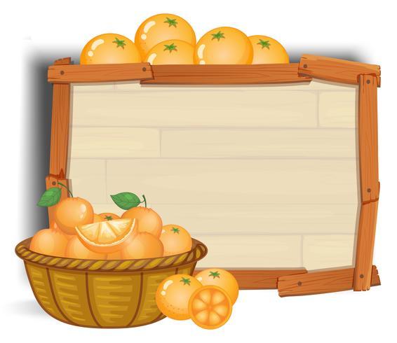 Orange mit Holzbanner vektor