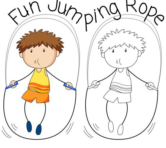 Doodle pojke hoppa rep vektor