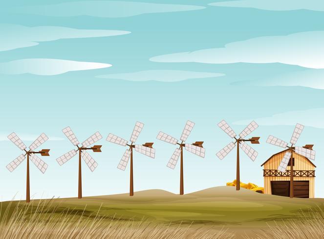 Bauernhofszene mit Windmühle und Scheune vektor
