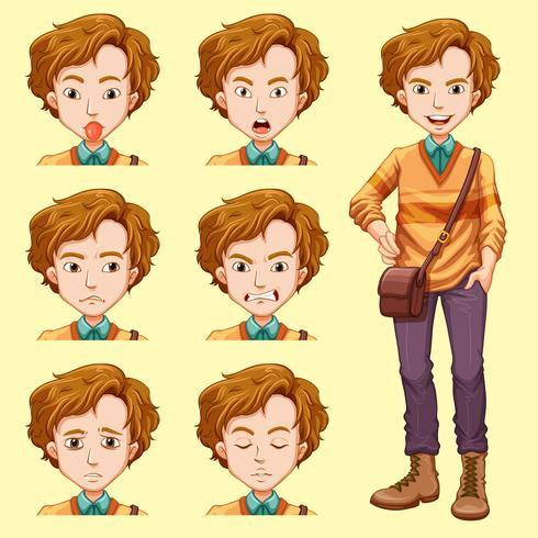 En ung man med ansiktsuttryck vektor
