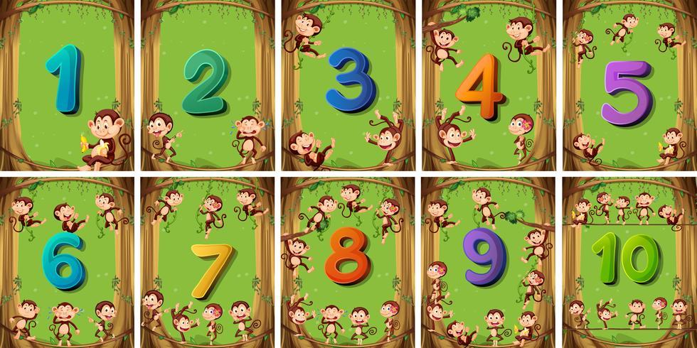 Nummer eins bis zehn auf verschiedenen Karten vektor